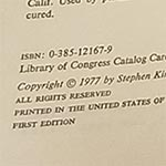 First Edition Copyright Page