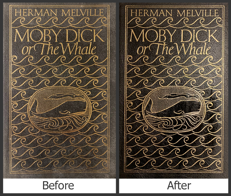 Before and after treatment vintage Moby Dick